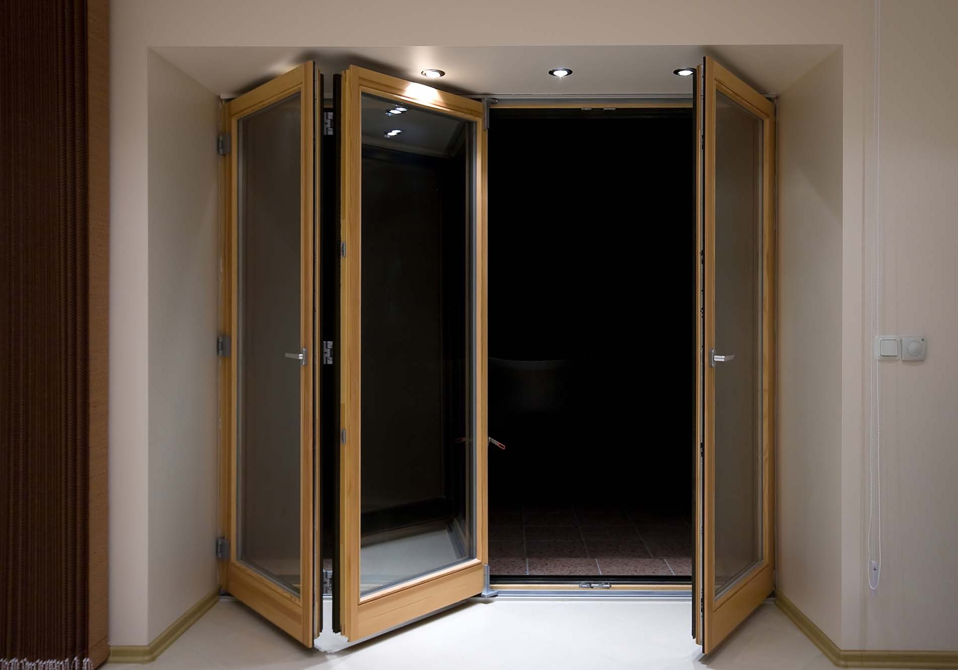 Wooden folding doors with lighting